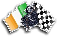 Death The GRIM REAPER & Irish Ireland IRL Racing Flag vinyl car helmet sticker