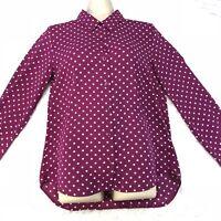 Uniqlo Womens Button Up Shirt Purple Polka Dot Long Sleeve Size Small