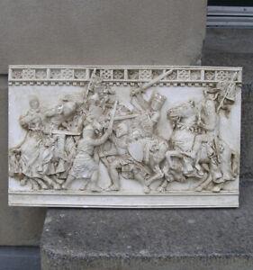 Battle of Evesham, 1265. Fine frieze panel relief with Epic battle scene. 1900.