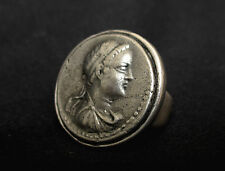 Sterling Silver Ring W/ a Model of an Ancient Roman Silver Dinar Coin, Unique!