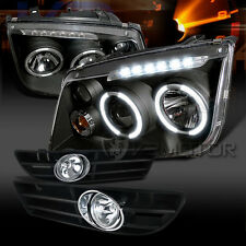 Fit 1999-2005 VW Jetta/Bora Black LED Halo Projector Headlights+Clear Fog Lights