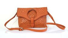 Genuine leather 3 in 1 vintage inspired tooled carved clutch tote sling bag