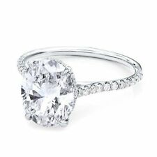 4.00ct Oval Solitaire Diamond Engagement Ring 14K White Gold Oval Diamond Ring