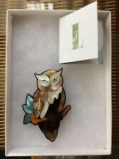 Lee Sands Beautiful  Coloured Owl Brooch Boxed
