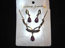 18 KT GOLD PLATED PURPLE  CRYSTAL NECKLACE & EARRING SET ~ FASHION JEWELERY