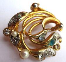 broche couleur or et argent bijou rétro vintage perle cristal diamant  2311