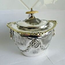ANTIQUE RARE SILVER PLATE EPBM TEA CADDY WITH LION MASK HANDLES