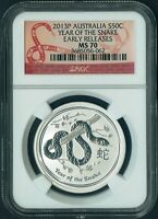 2013 P AUSTRALIA Lunar YEAR of SNAKE 1/2 oz pure Silver Coin NGC MS70 red label