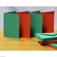 CRAFT UK Blank Greeting Cards Envelopes - A6c6 Red Green Christmas Colours