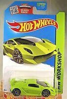 2015 Hot Wheels #198 HW Workshop LAMBORGHINI SESTO ELEMENTO Green w/Gray J5 Sp