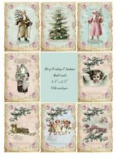 Christmas vintage inspired 8 small cards with envelopes