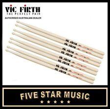 VIC FIRTH 5A WOOD TIP DRUM STICK 4 PAIRS DRUMSTICKS VF5A USA HICKORY - NEW