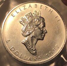 1997 CANADA 5 DOLLAR .9999 SILVER MAPLE LEAF, KEY DATE, SEALED RCM PLASTIC BU