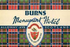 Burns Monument Hotel ~ALLOWAY - AYR / SCOTLAND~ Great TARTAN Luggage Label, 1955