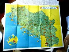 VINTAGE CARTOON MAP YUGOSLAVIA JUGOSLAVIJA LOVELY ILLUSTRATIONS by KOPAC 1954