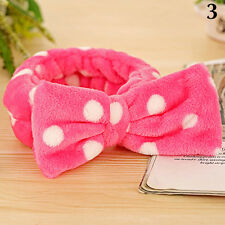 Sweet Big Bow Dot Striped Soft Hair Band Head Wrap Headband Bath Spa