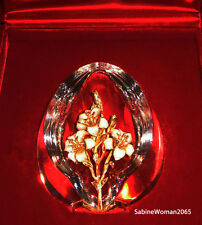 New in Red Box Steuben glass Egg 18K Enameled Gold Ornament crystal jewel art