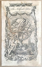 "c1764 Antique Engraved Print Globe ""Artificial Sphere"" Atlas Map Meridian Poles"