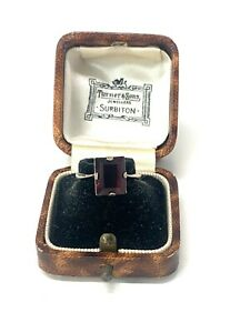 Amazing Antique Art Deco Sterling Silver 925 Amethyst Paste Ring Size N #1685