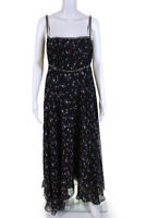 Anthropologie Womens Sleeveless Floral Print Maxi Dress Black Size 6