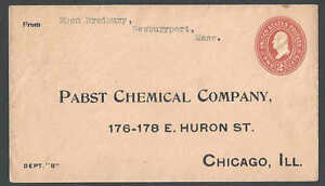 1899 U364 2c Orange On Oriental Buff Unposted To Pabst Chemical Co Chicago IL---