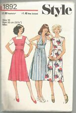 Style Sewing Pattern 1892, Vintage Dress with 3 Bodice Styles , Size 10, Uncut