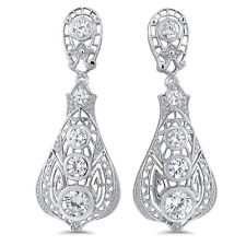 ANTIQUE VICTORIAN DESIGN 925 STERLING SILVER WHITE CZ EARRINGS,  #657