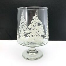 Glass Hurricane Pillar Candle Holder Footed Frosted Tree Motif Christmas Vintage