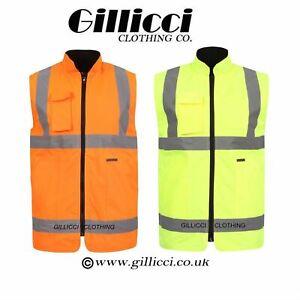 Hi Viz Visibilty Mens Reversible Waterproof Bodywarmer Jacket Warm Workwear