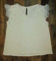 Promesa Top Blouse V-Neck Lace Cap Sleeve Ivory Keyhole Back Women's Small