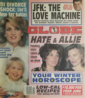 Globe Magazine Nov 10 1987 JFK The Love Machine - Princess Diana - Hate & Allie