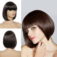 Women Ladies Wigs Short Straight Bob With Bangs Wig Synthetic Hair Cosplay Party