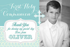 10 PERSONALISED BOYS FIRST HOLY COMMUNION THANK YOU - FLAT PHOTO CARDS
