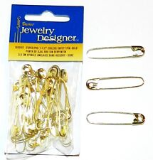 "SP112d Gold 1-1/2"" Coiless French Safety Pin For Beads, Crafts & Jewelry 25pc"
