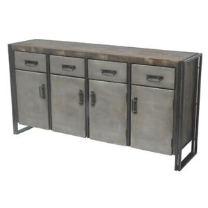 """72"""" W Diego Buffet metal 4 Drawer 4 Door metal industrial design spectacular"""