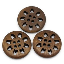 25PCs Wood Buttons Sewing Snowflake Carved Hollow 4 Holes Brown 25mm