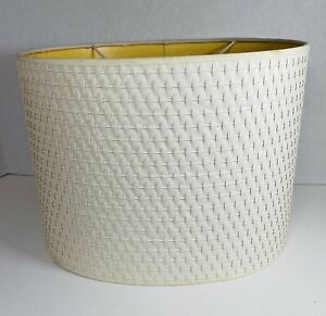 Vintage MCM Plastic Hardback White Paper Weave Oval Drum Lamp Shade Threaded UNO