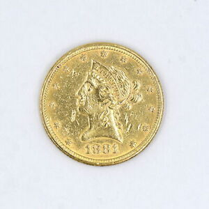 1881 $10 LIBERTY HEAD EAGLE GOLD PIECE AU DETAILS US COLLECTIBLE COIN 90% GOLD
