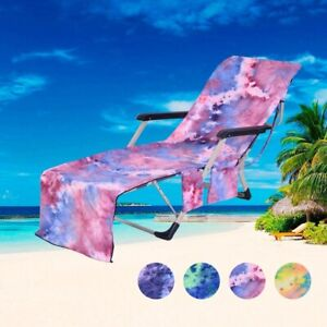 Summer Beach Pooling Lounge Towel Cover Chair Cover Pockets Microfiber Towels
