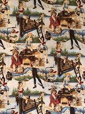 """2000 Alexander Henry """"The Great Outdoors"""" 43"""" X 55"""" (1.5 Yds) Pin Up 50s Girl"""