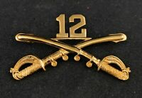 "🌟US Army 12th Cavalry Crossed Sabres Gold Tone, Large 2-1/4"" Hat Lapel Pin"