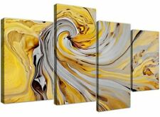 Large Mustard Yellow and Grey Spiral Swirl Abstract Canvas Split 4 Part 4290