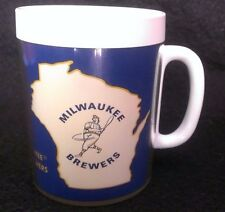 Vintage Milwaukee Brewers Thermo-Serv Plastic Mug Cup Maxwell House Coffee Blue