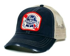 Pabst Blue Ribbon Beer Hat Vintage Applique Truckers Cap Adult Navy/Tan