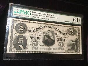 $2 Citizens Bank of Louisiana Obsolete Banknote **Beautiful **