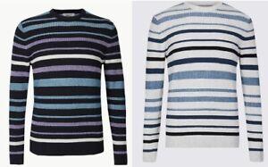 Ex M&S Mens Crew Neck 100% Cotton Stripe Jumper Pullover Marks & Spencer RRp £29