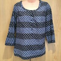 Fat Face Ladies Top Size 10 Blouse Shirt 3/4 Sleeved Roll Up Blue Floral Cotton