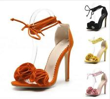 Womens High Stiletto Heel Flower Decor Ankle Strap Lace up Sandals Shoes Bridal