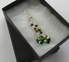 Handmade Swarovski Elements Bronze & Crystal Heart Long Dangle Earrings