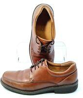 ECCO Holton Oxford Mens EUR Sz 43 US 9-9.5 Brown Leather Apron Toe Lace Up Shoes